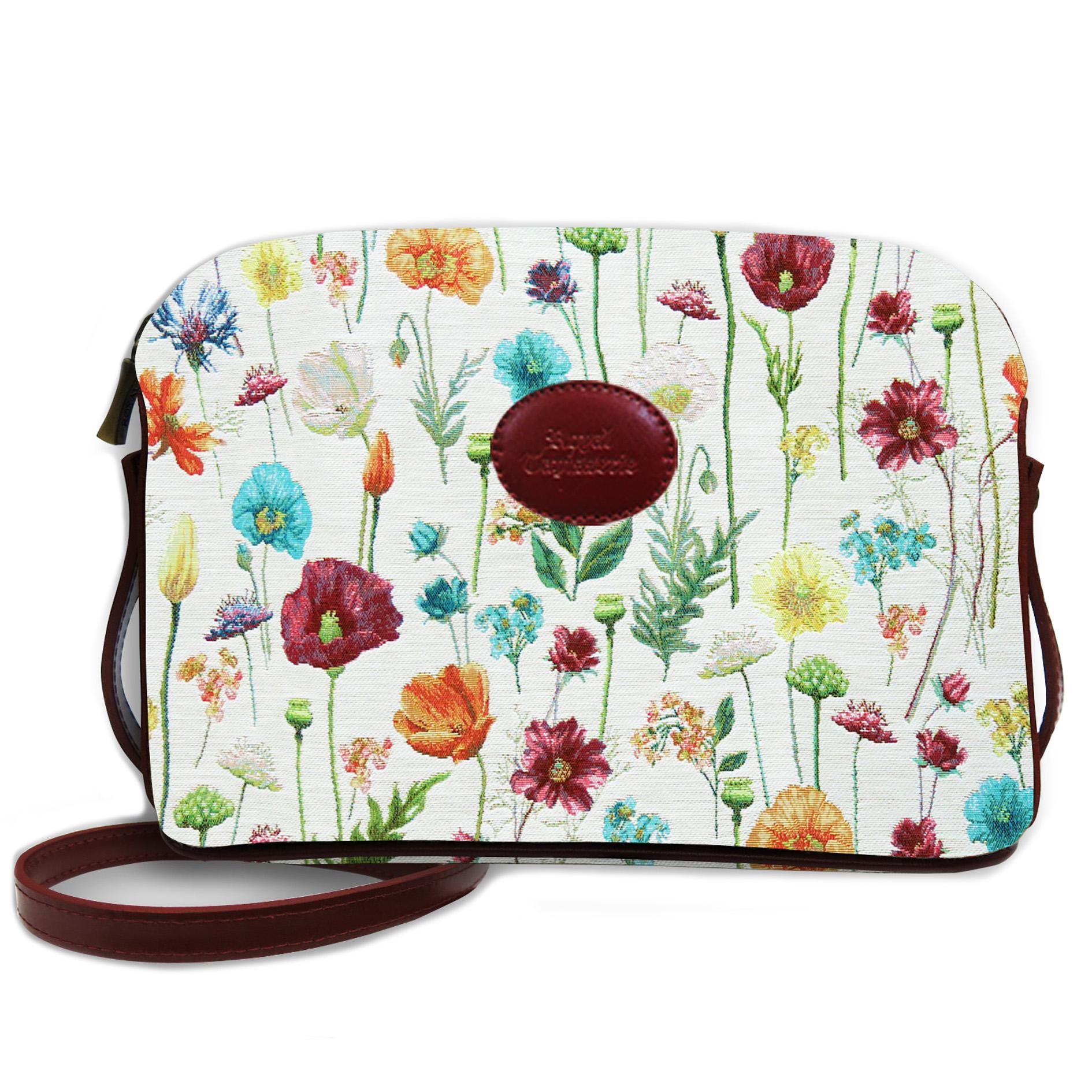 Sac bandoulière artisanal \'Royal Tapisserie\' blanc multicolore (fleurs des champs)  - 23x17x6 cm - [Q6374]