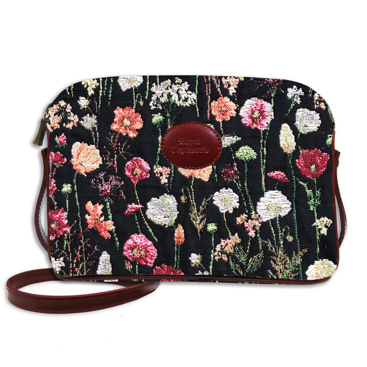 Sac bandoulière artisanal \'Royal Tapisserie\' noir multicolore (fleurs en hiver)  - 23x17x6 cm - [Q6375]