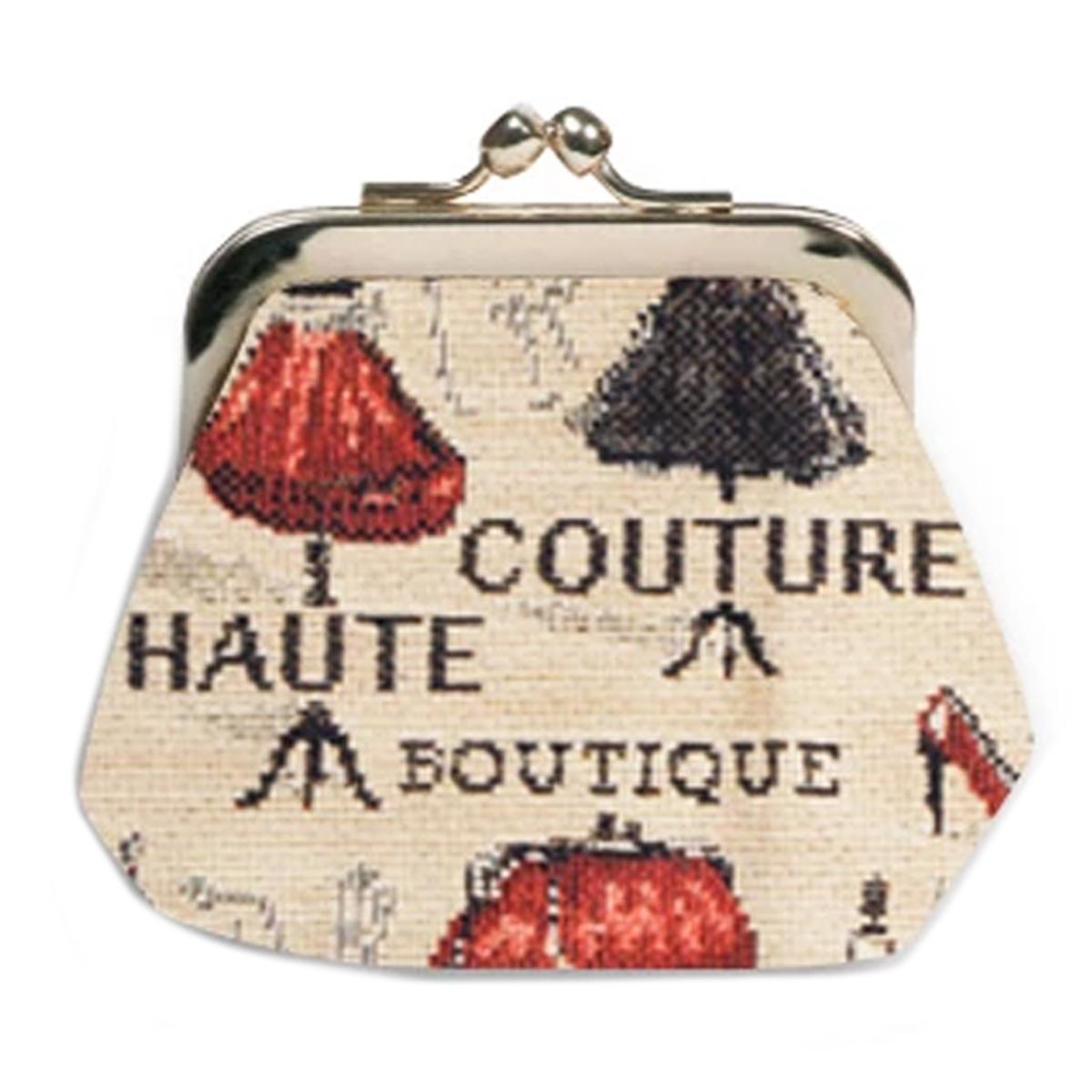Porte-monnaie artisanal \'Royal Tapisserie\' beige rouge (Maison de Couture)  - 11x10x1 cm - [Q6377]