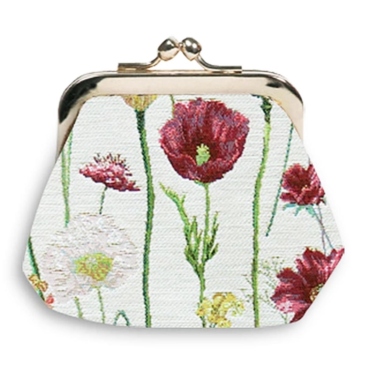 Porte-monnaie artisanal \'Royal Tapisserie\' blanc multicolore (fleurs des champs)  - 11x10x1 cm - [Q6378]