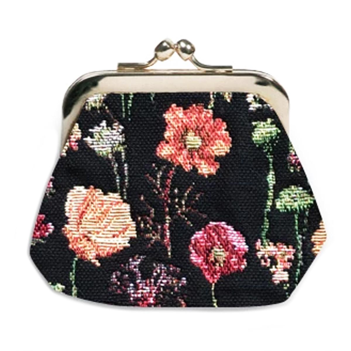 Porte-monnaie artisanal \'Royal Tapisserie\' noir multicolore (fleurs en hiver)  - 11x10x1 cm - [Q6379]