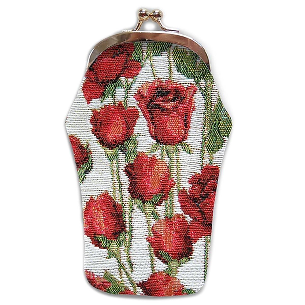 Etui à lunettes artisanal \'Royal Tapisserie\' blanc rouge (roses rouges)  - 18x8 cm - [Q6381]