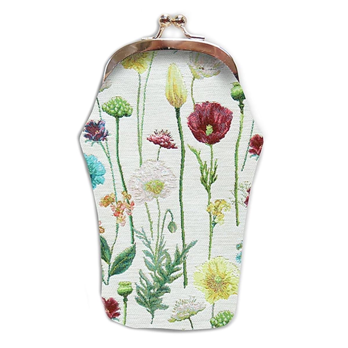 Etui à lunettes artisanal \'Royal Tapisserie\' blanc multicolore (fleurs des champs)  - 18x8 cm - [Q6382]