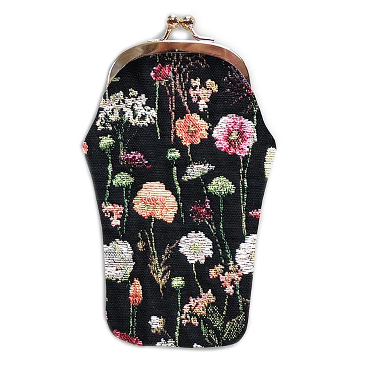 Etui à lunettes artisanal \'Royal Tapisserie\' noir multicolore (Fleurs en hiver)  - 18x8 cm - [Q6383]