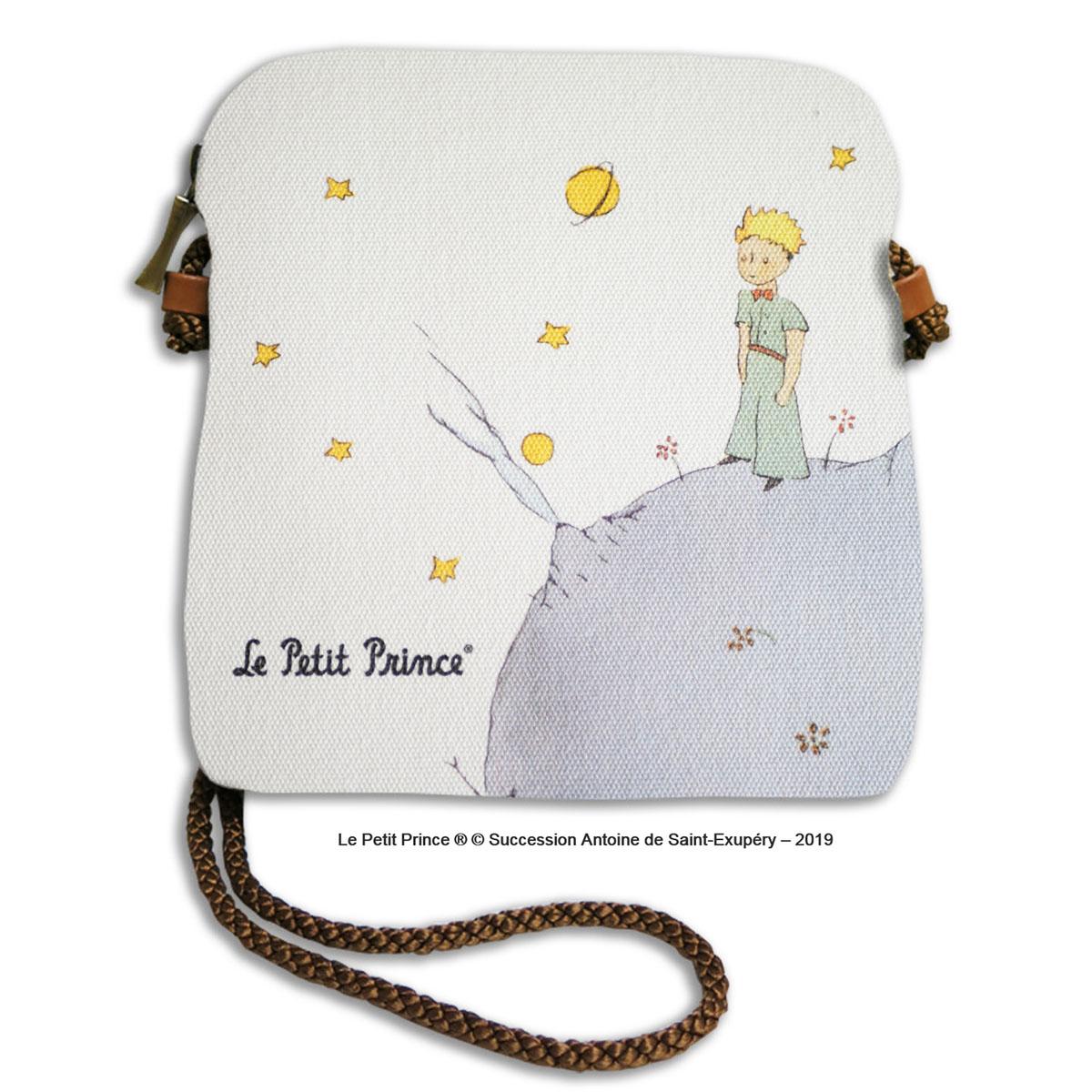 Sac bandoulière artisanal \'Le Petit Prince\' (planete)  - 18x17 cm - [R0455]