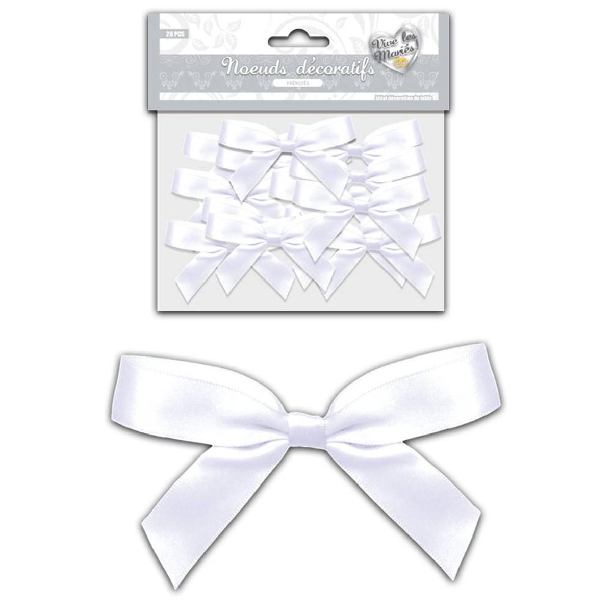 Set de 20 noeuds décoratifs \'Mariage\' blanc satiné - chaque noeud 8x5 cm - [A0001]