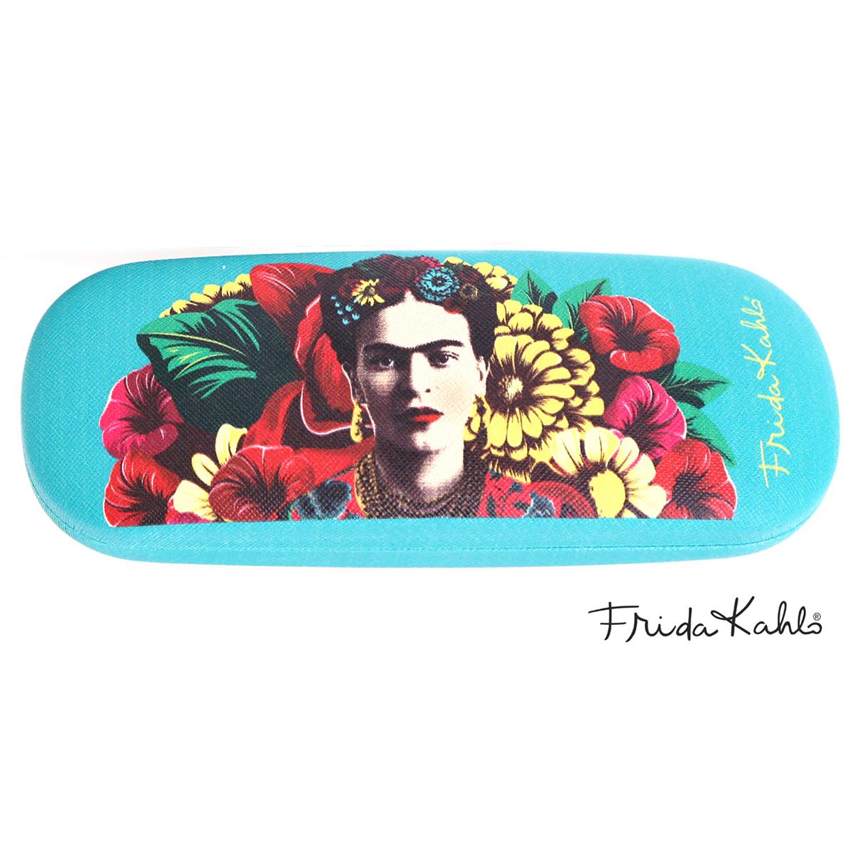 Etui à lunettes créateur \'Frida Kahlo\' turquoise - 15x6 cm - [A0003]