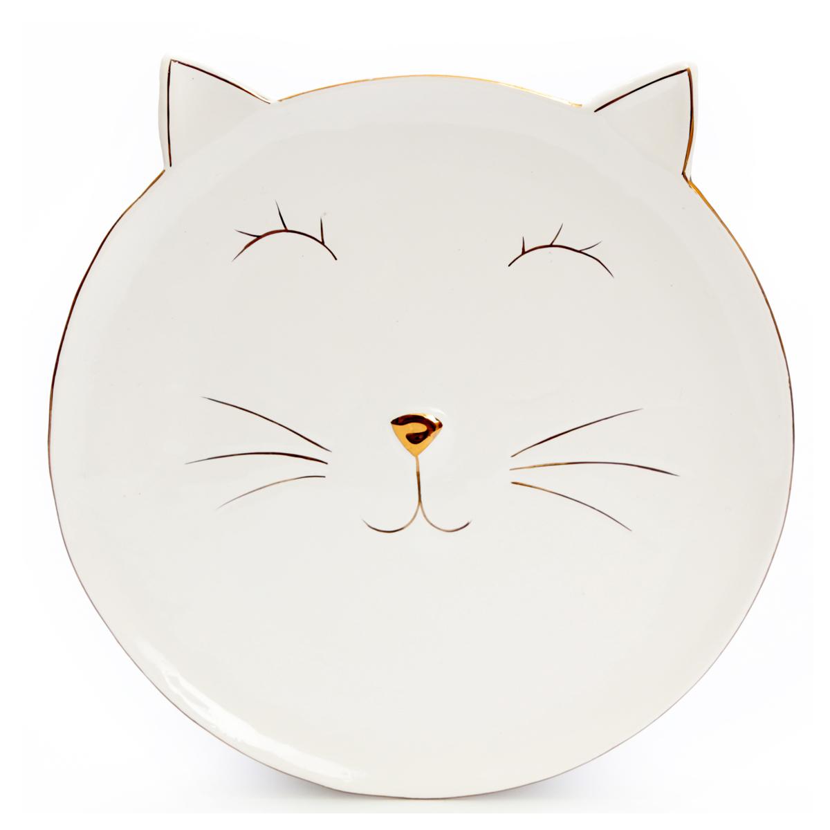 Assiette céramique \'Chats\' ivoire doré - 15x16 cm - [A0013]