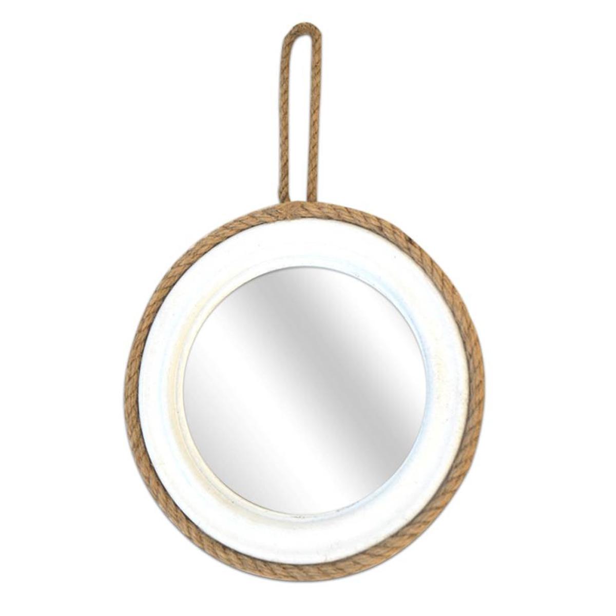 Miroir cordes bois \'Monde Marin\' blanc  - 185 cm - [A0165]