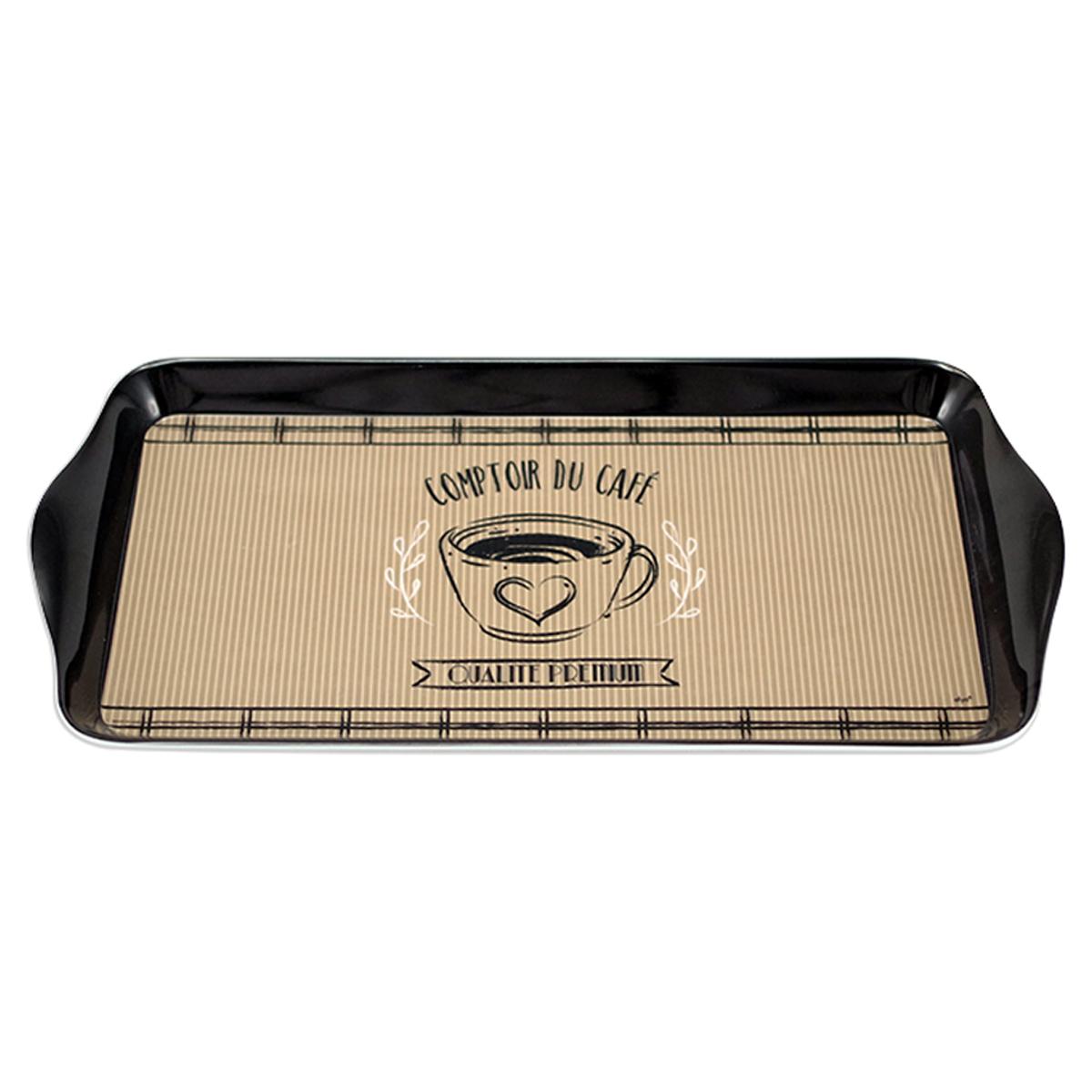 Plateau à cake mélamine \'Comptoir du Café\' marron noir - 305x15 cm - [A0221]
