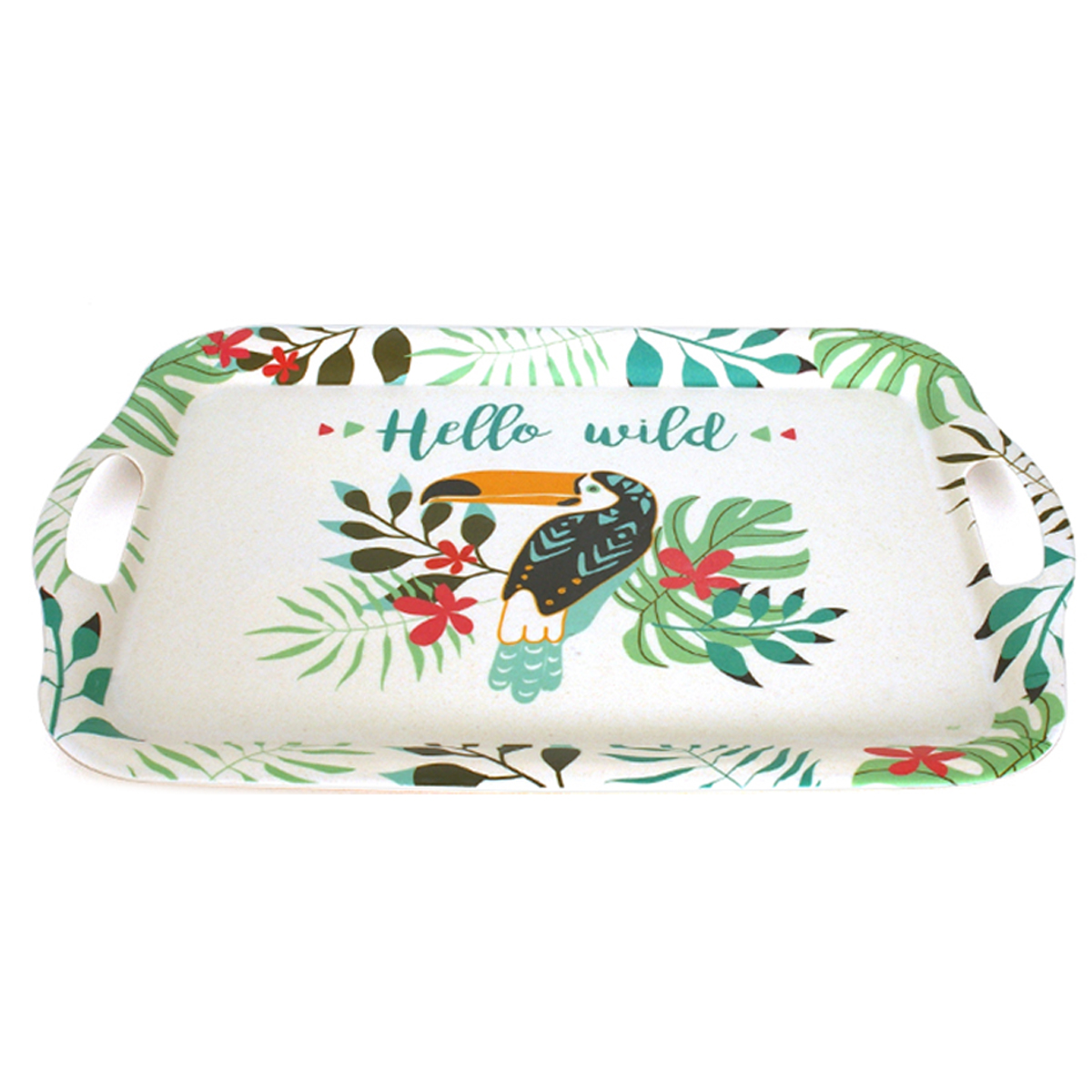 Grand plateau bambou \'Tropical\' multicolore (toucan, hello wild) - 42x29 cm - [A0225]