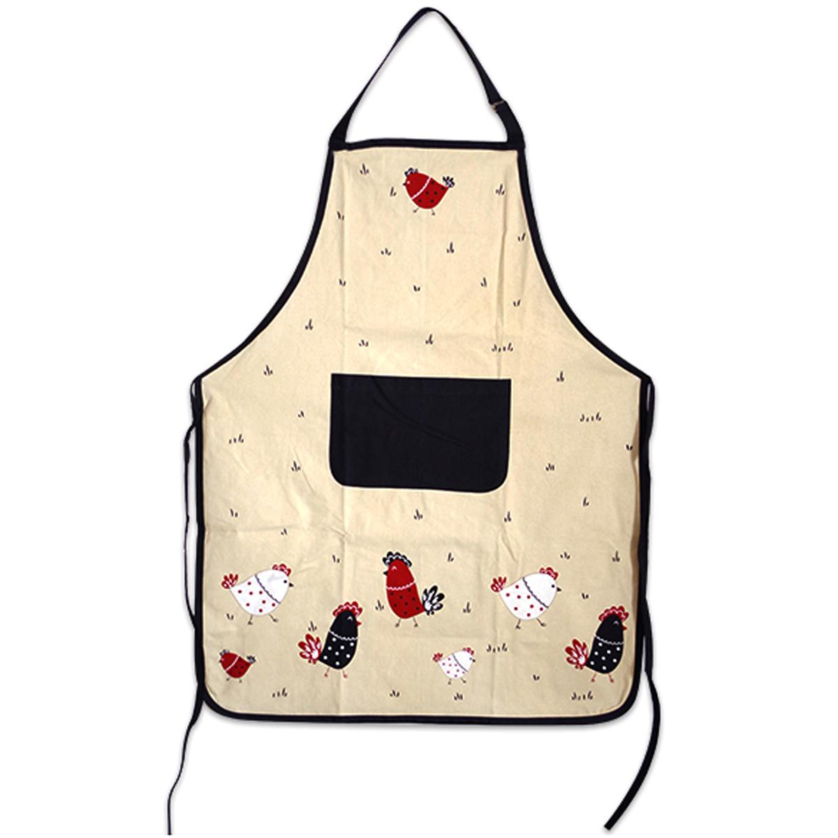 Tablier de cuisine coton \'Poules\' rouge beige noir - 90x70 cm - [A0249]