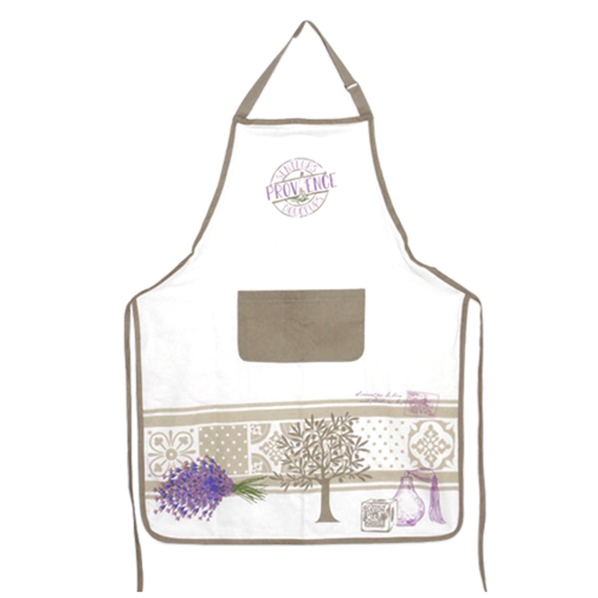 Tablier de cuisine coton \'Provence\' taupe violet ivoire - 90x70 cm - [A0250]