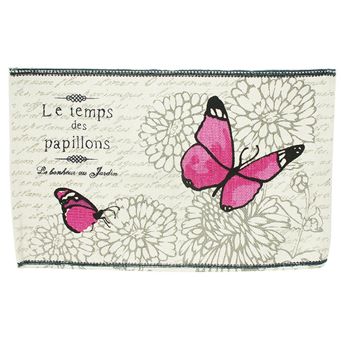 Tapis coton \'Le Temps des Papillons\' rose gris - 80x50 cm - [A0272]