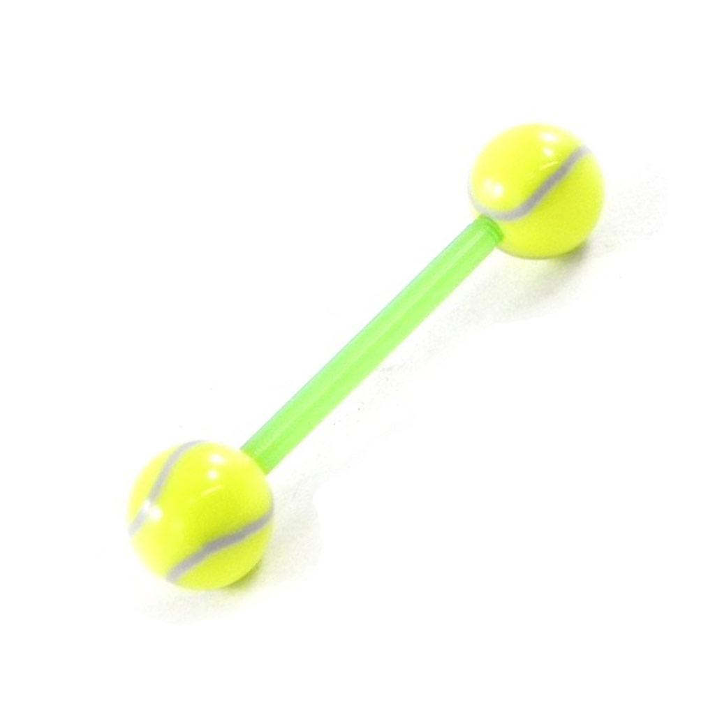 Piercing Langue \'Tennis\' jaune - [H9235]