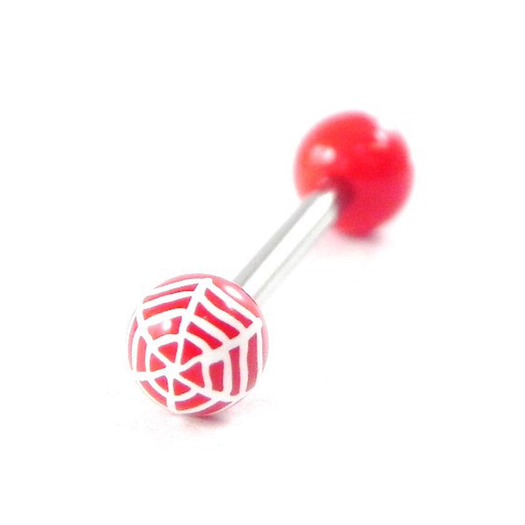 Piercing Langue \'Spider\' rouge - [H9270]