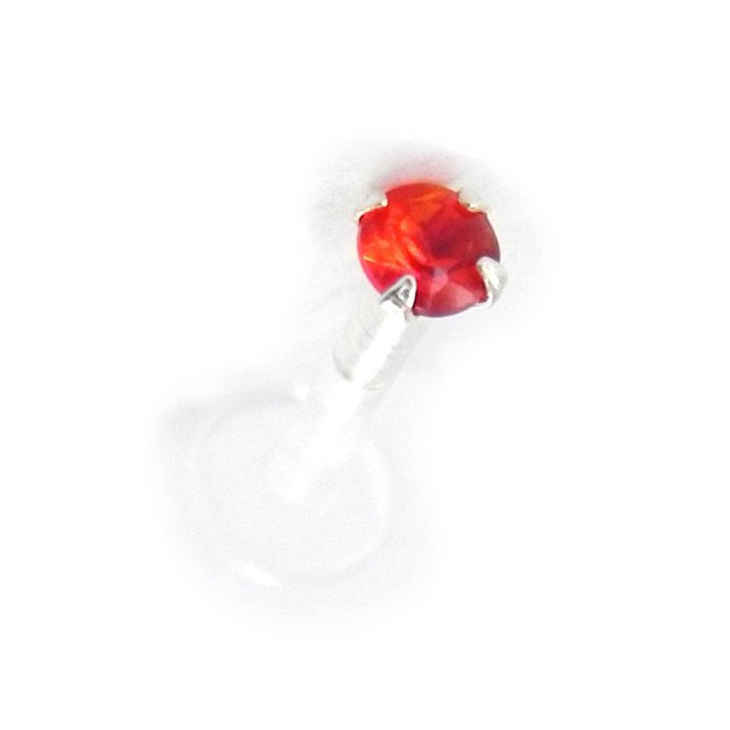 Labret \'Mouche\' rouge 25 mm - [H9757]