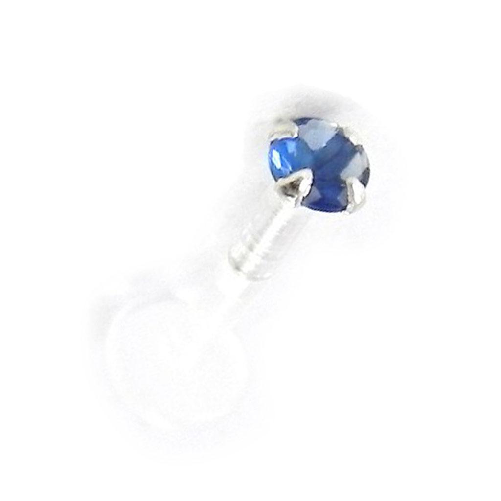 Labret \'Mouche\' bleu 25 mm - [H9764]