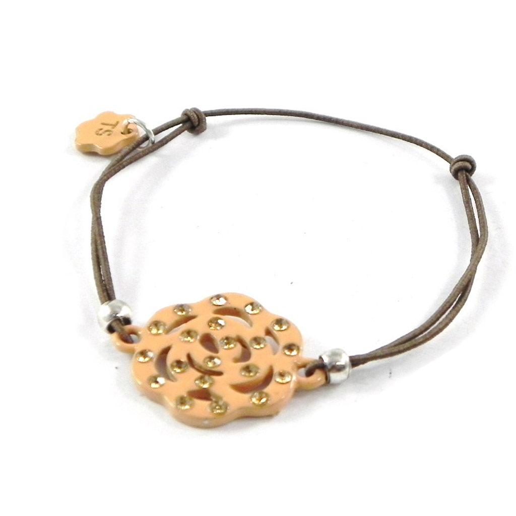 Bracelet Créateur \'Camélia\' beige camel - [H9818]