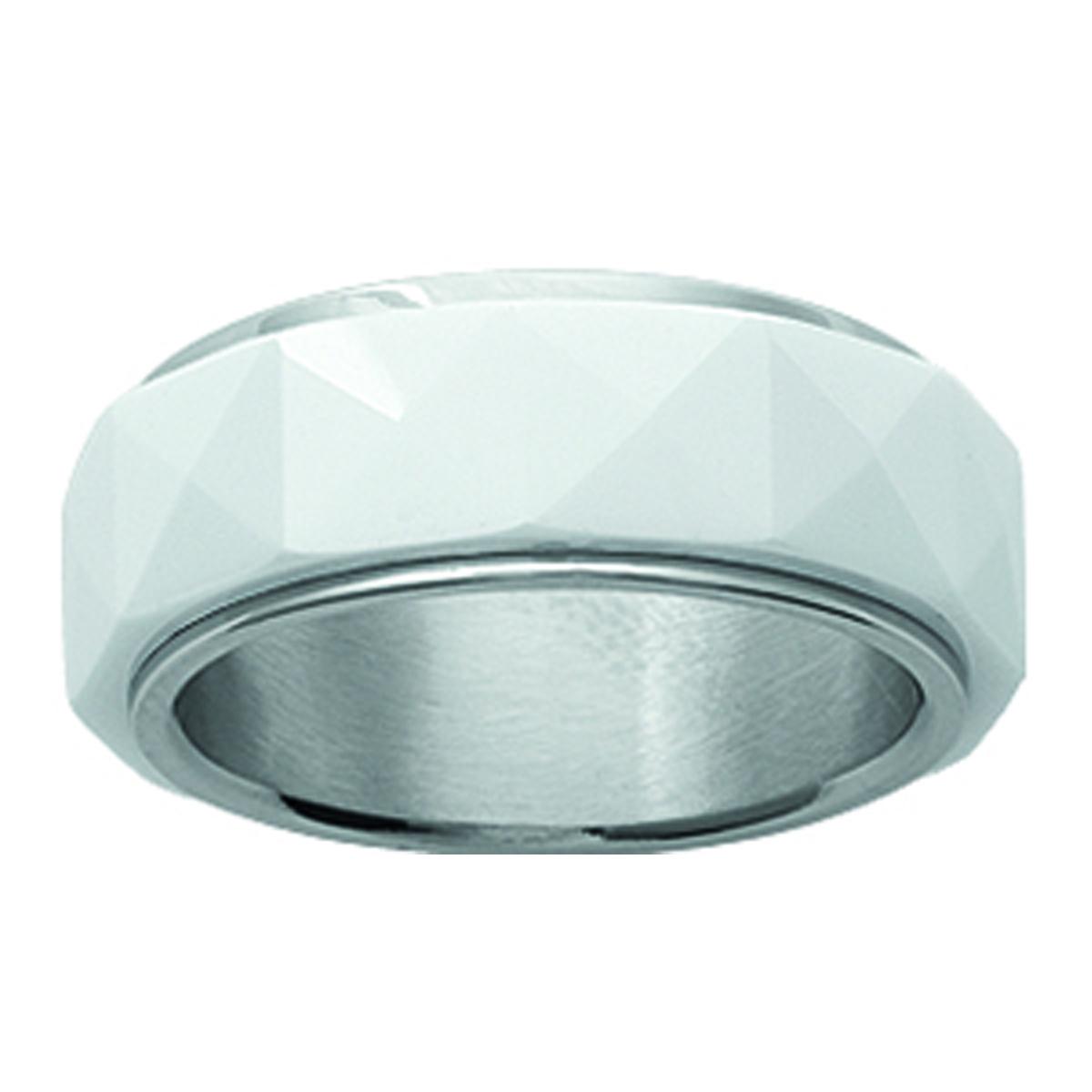 Bague acier \'Mineralia\' céramique blanc - 7 mm - [I1093]