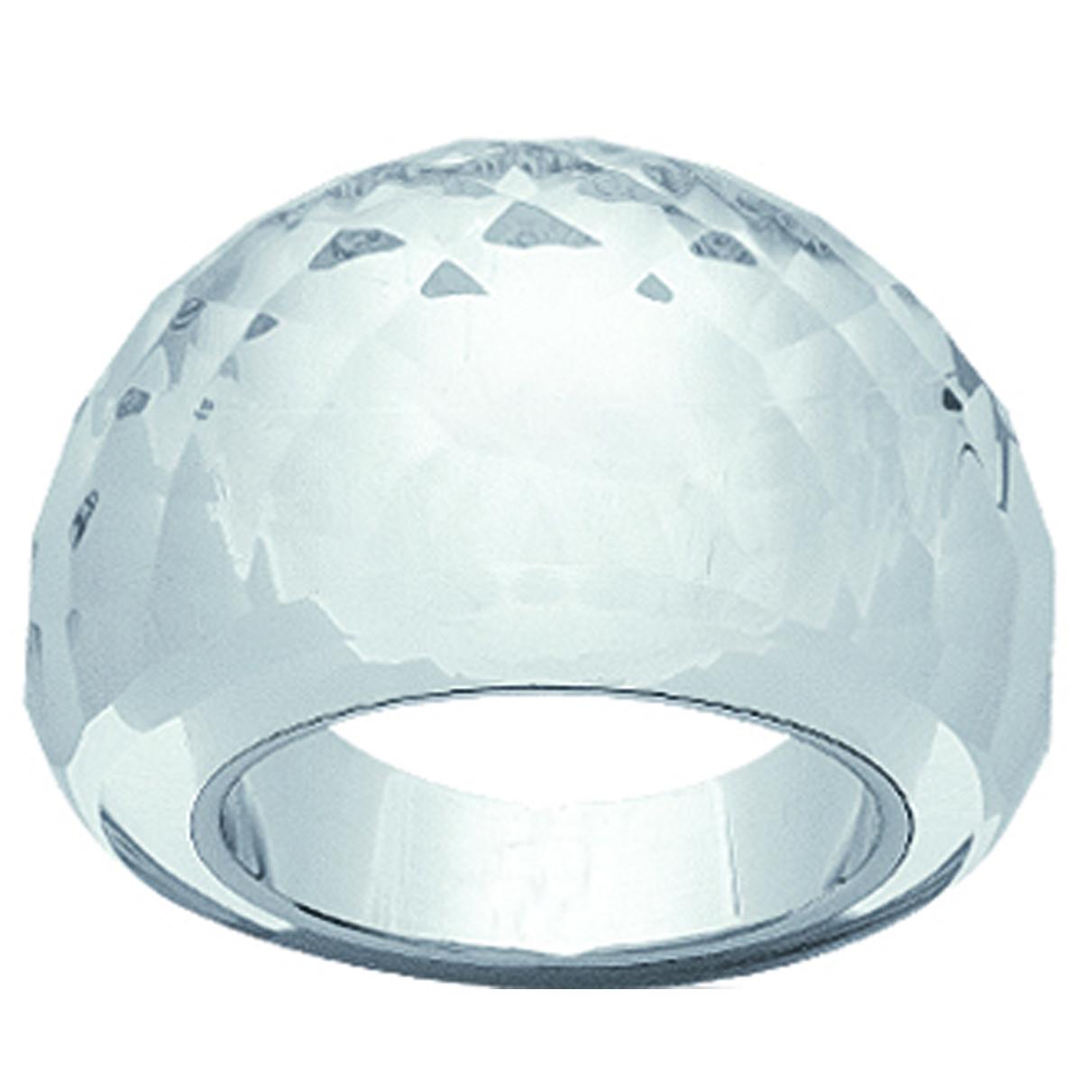 Bague acier \'Mineralia\' cristal blanc - 15 mm - [I1096]