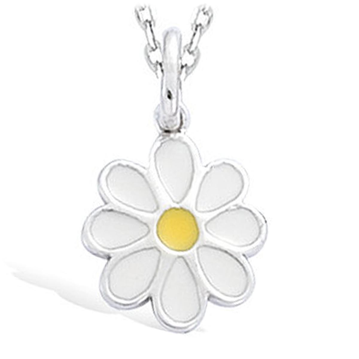 Pendentif Argent \'Marguerites\' blanc jaune (rhodié) - 11 mm - [I4233]