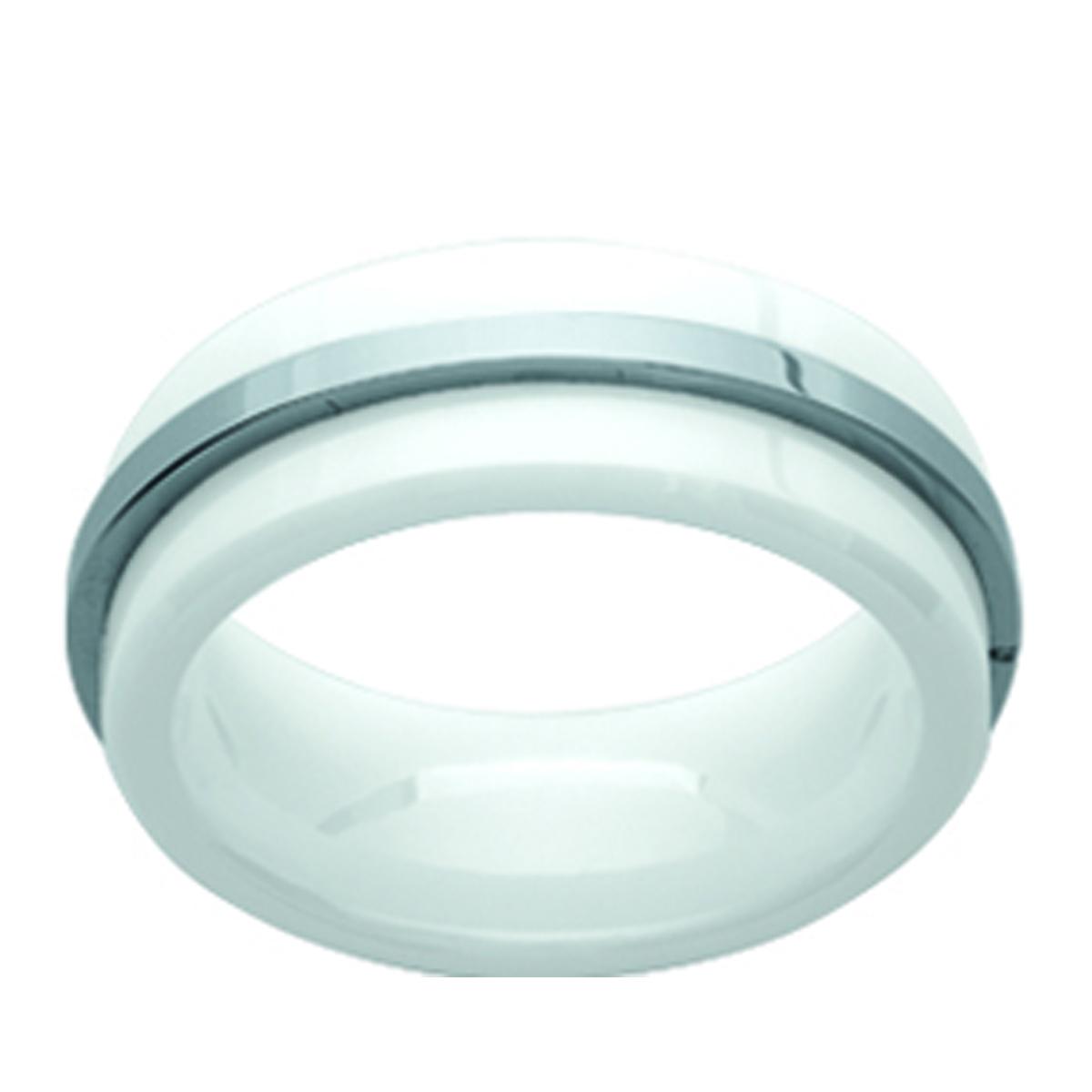 Bague acier \'Peaceful\' acier blanc céramique - 8 mm - [J3141]