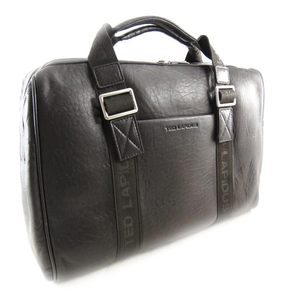 Sac week-end cuir \'Ted lapidus\' marron vintage - [J5068]