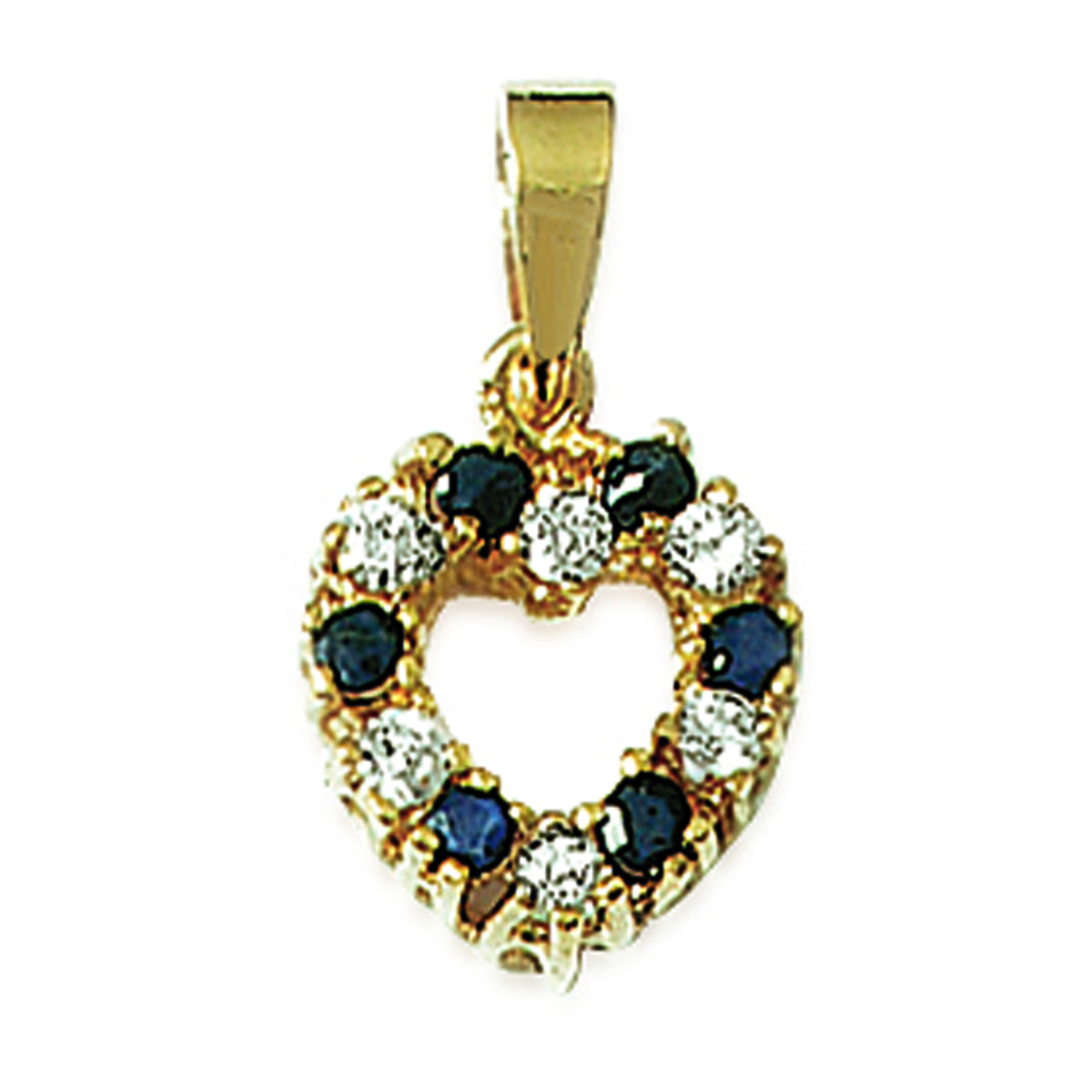 Pendentif Plaqué Or \'Love\' saphir blanc doré - 18x12 mm - [J5214]