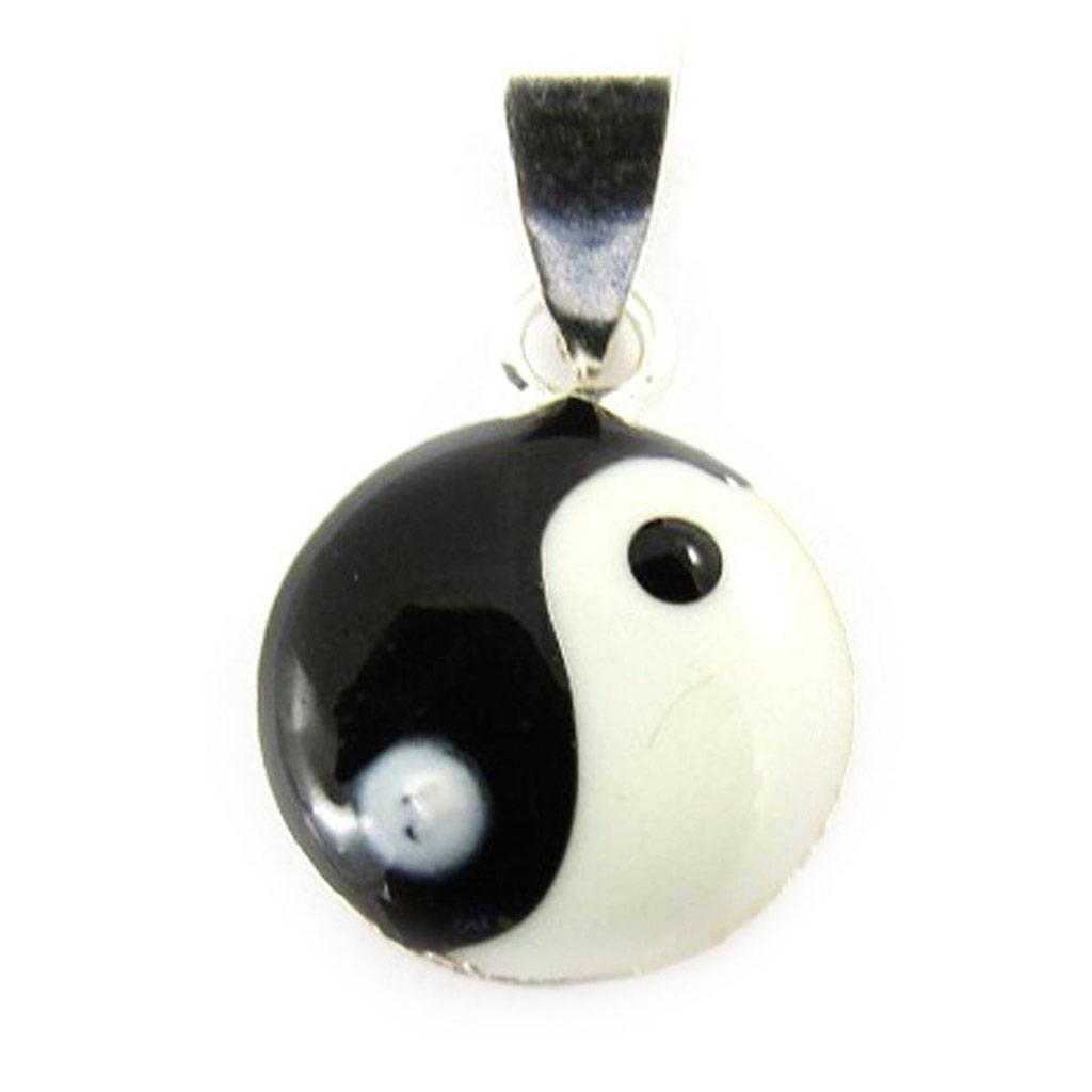 Pendentif Argent \'Yin Yang\' Noir Blanc - 10 mm - [J5253]