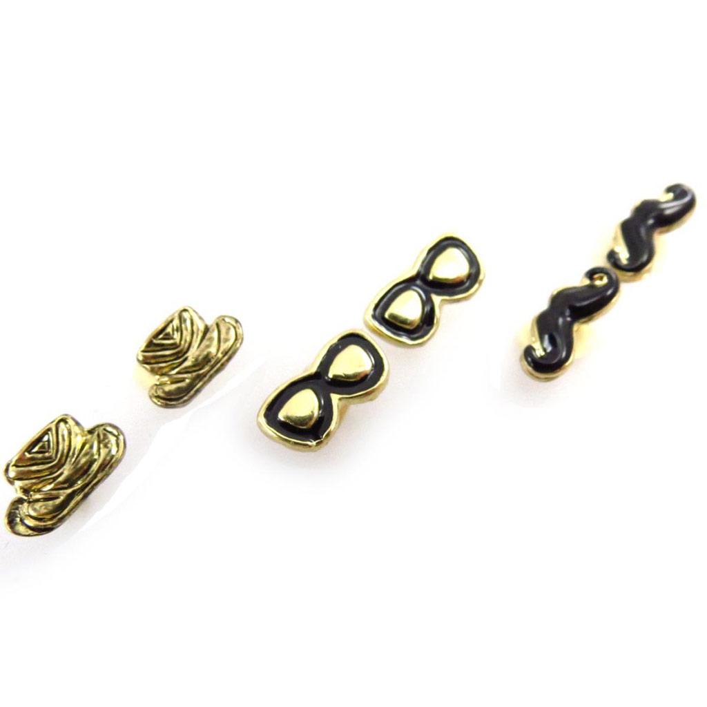 3 paires de boucles \'Costume\' noir doré - [J6694]