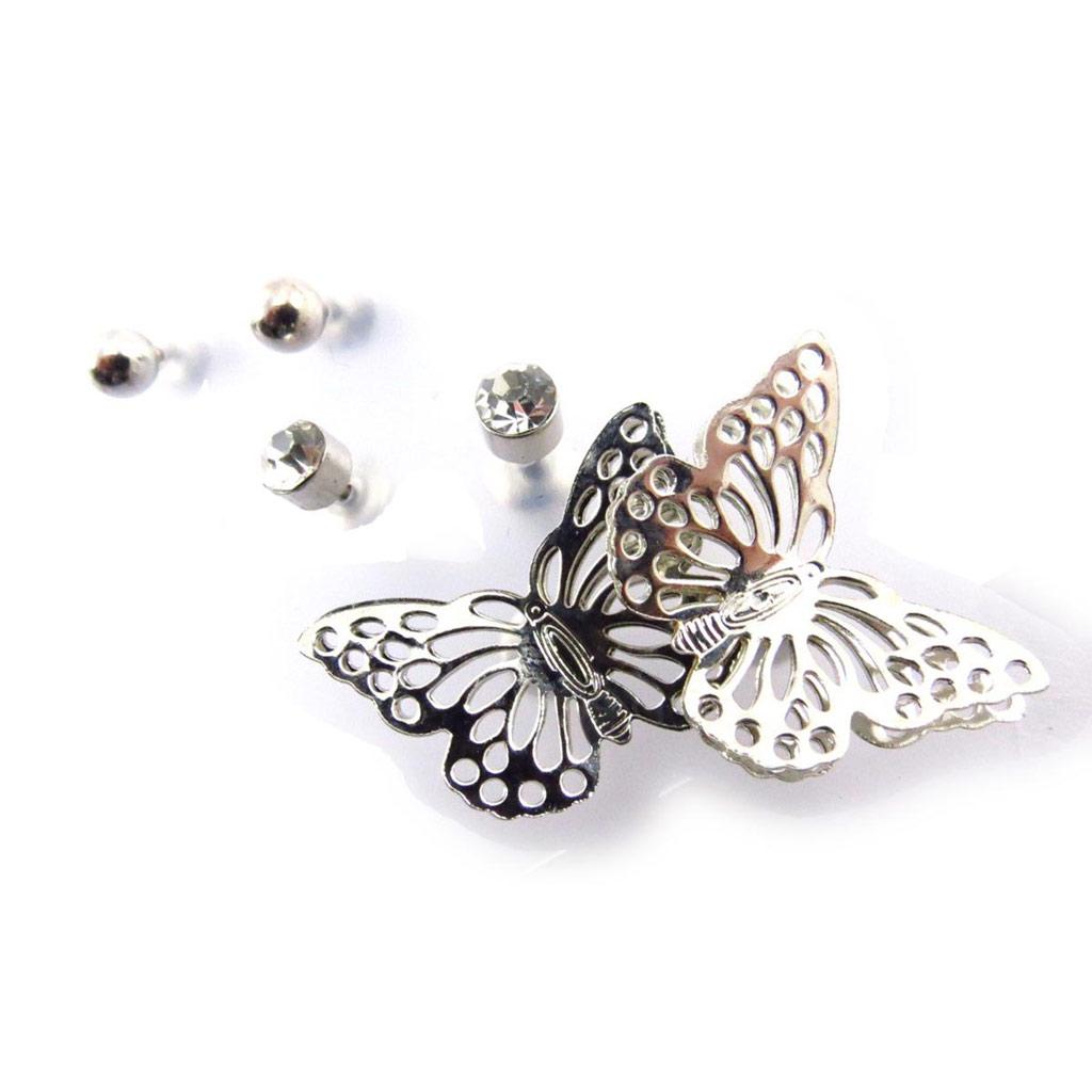 3 paires de boucles \'Papillons\' argenté  - [J6726]