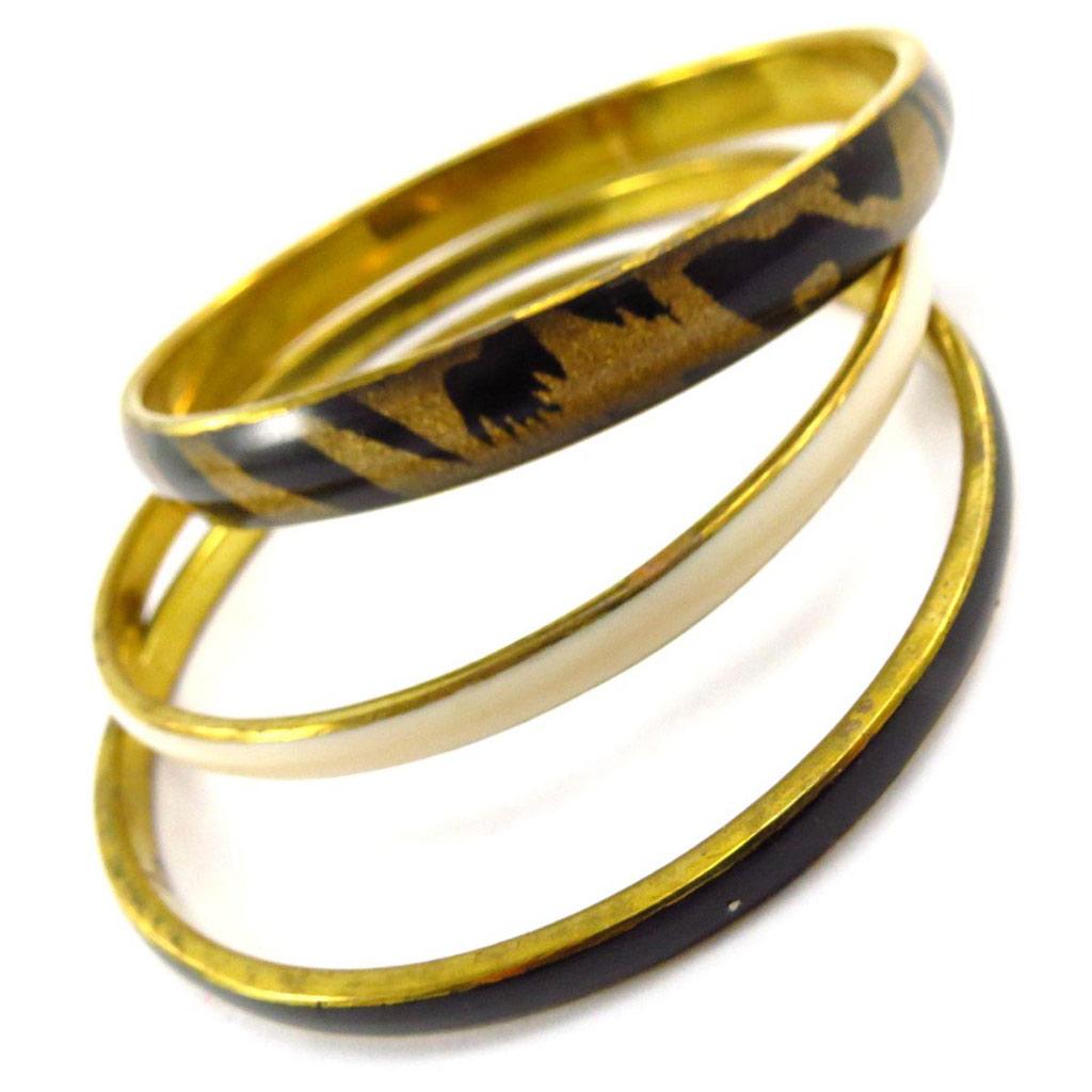 Bracelet créateur \'Safari Queen\' marron beige doré - [J6841]