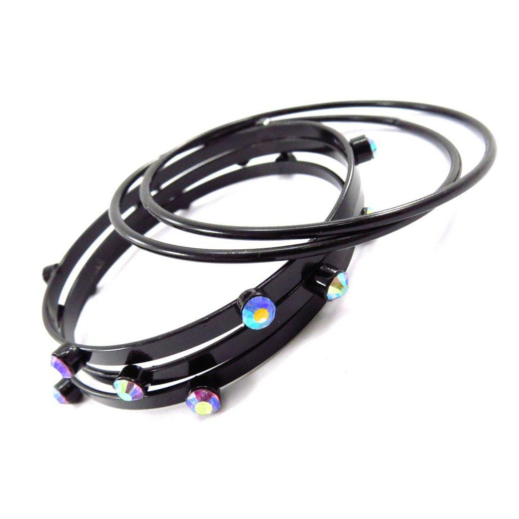 Bracelet créateur \'Sissi\' noir - [J6843]