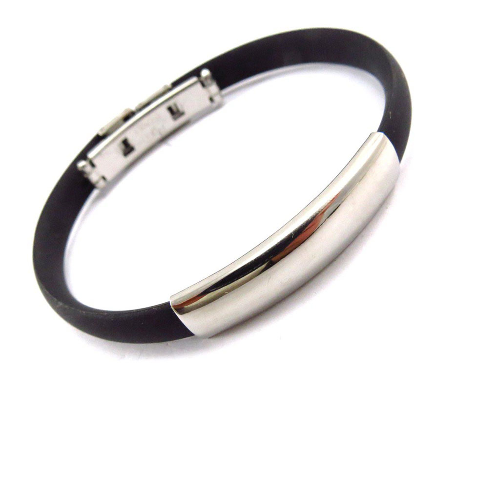Bracelet Homme \'Zeus\' Acier / Silicone (gravable) - [J6844]