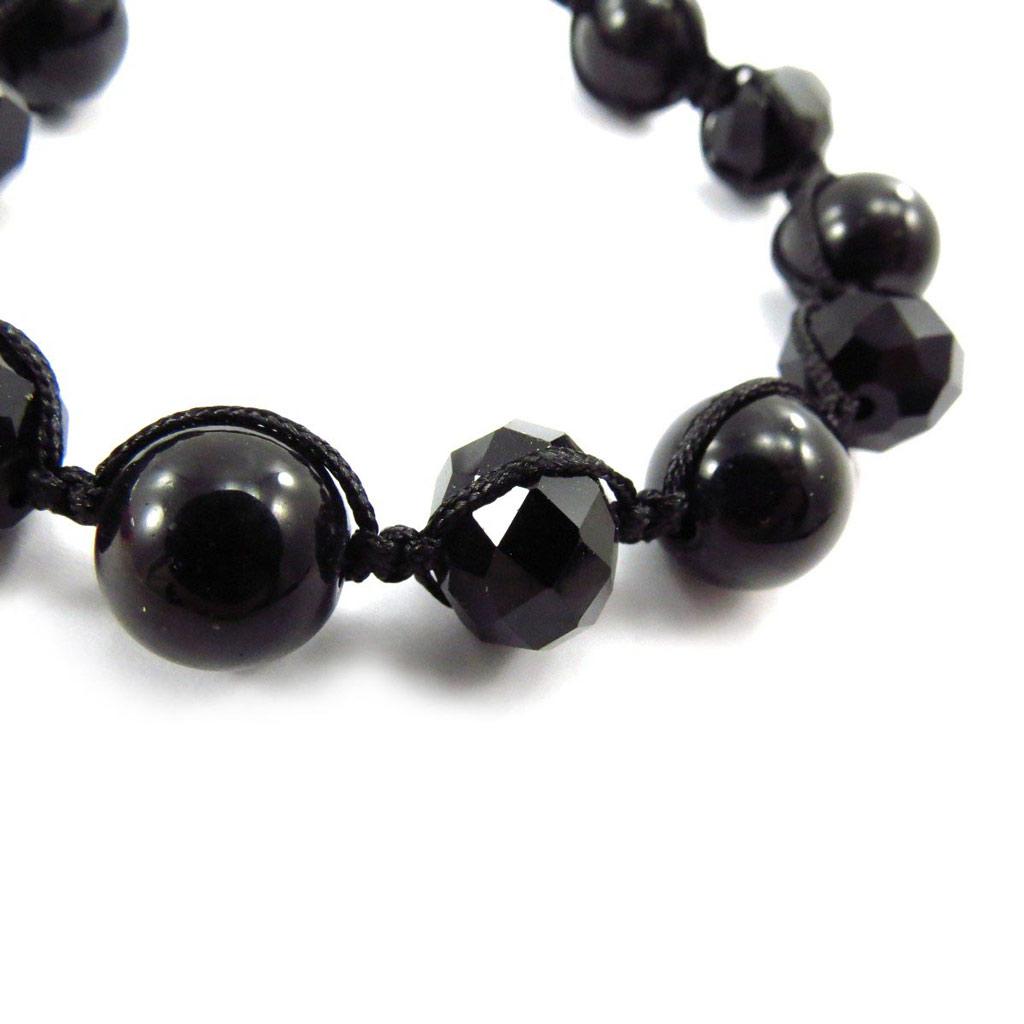 Bracelet ethnique \'Shambhala\' noir  - [J6847]