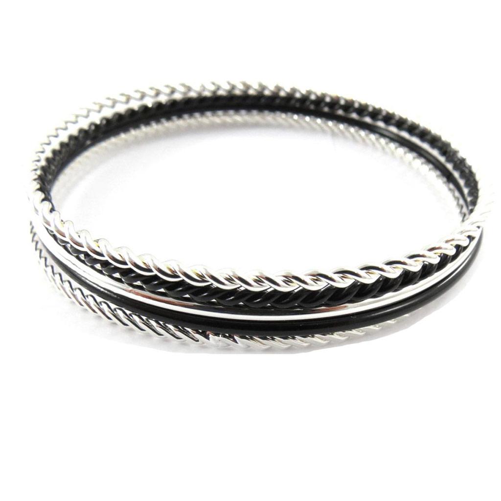 Bracelet créateur \'Chorégraphie\' noir argenté - [J7557]