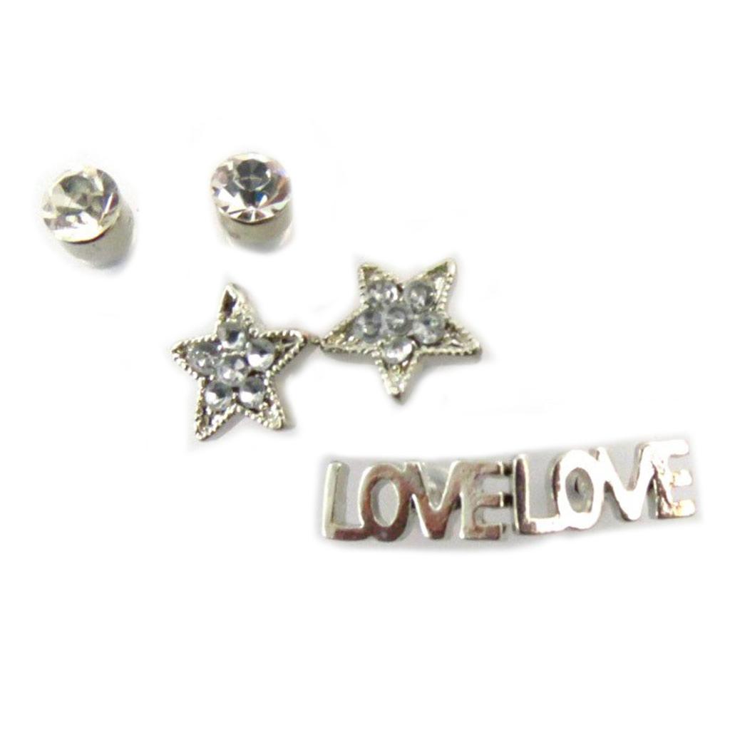 3 paires de boucles \'Love\' argenté  - [J7716]