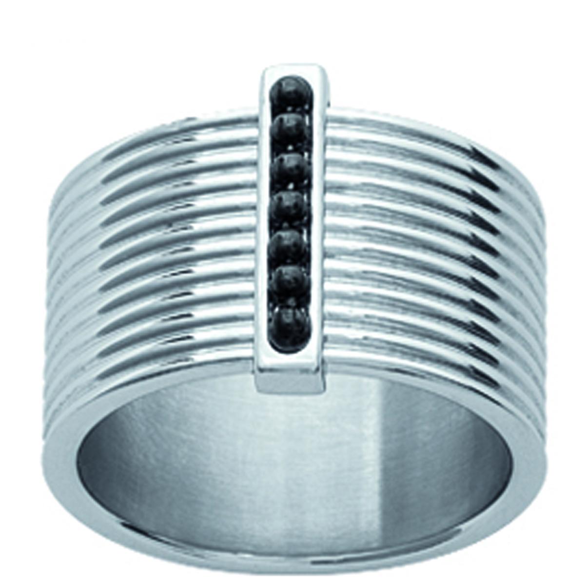 Bague acier \'Chorégraphie\' noir argenté - 12 mm - [J9421]