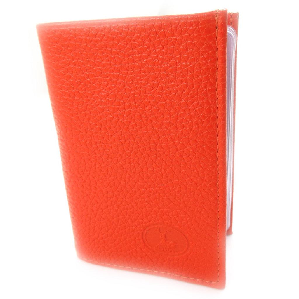 Porte-cartes Cuir \'Frandi\' orange grainé - [K0350]