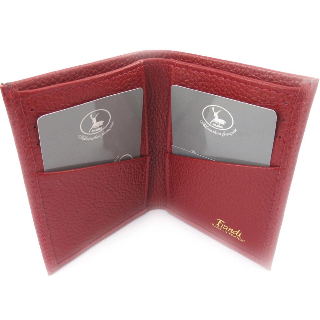 Porte-cartes Cuir \'Frandi\' rouge bordeaux grainé - [K0353]