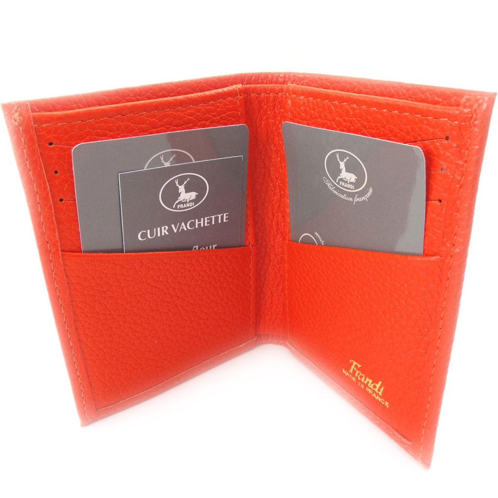 Porte-cartes Cuir \'Frandi\' orange grainé - [K0354]