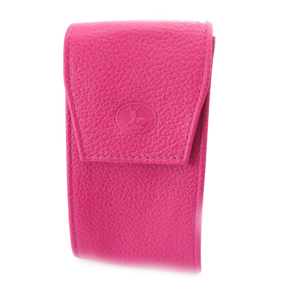 Porte-clés Cuir \'Frandi\' rose bonbon grainé - [K0379]
