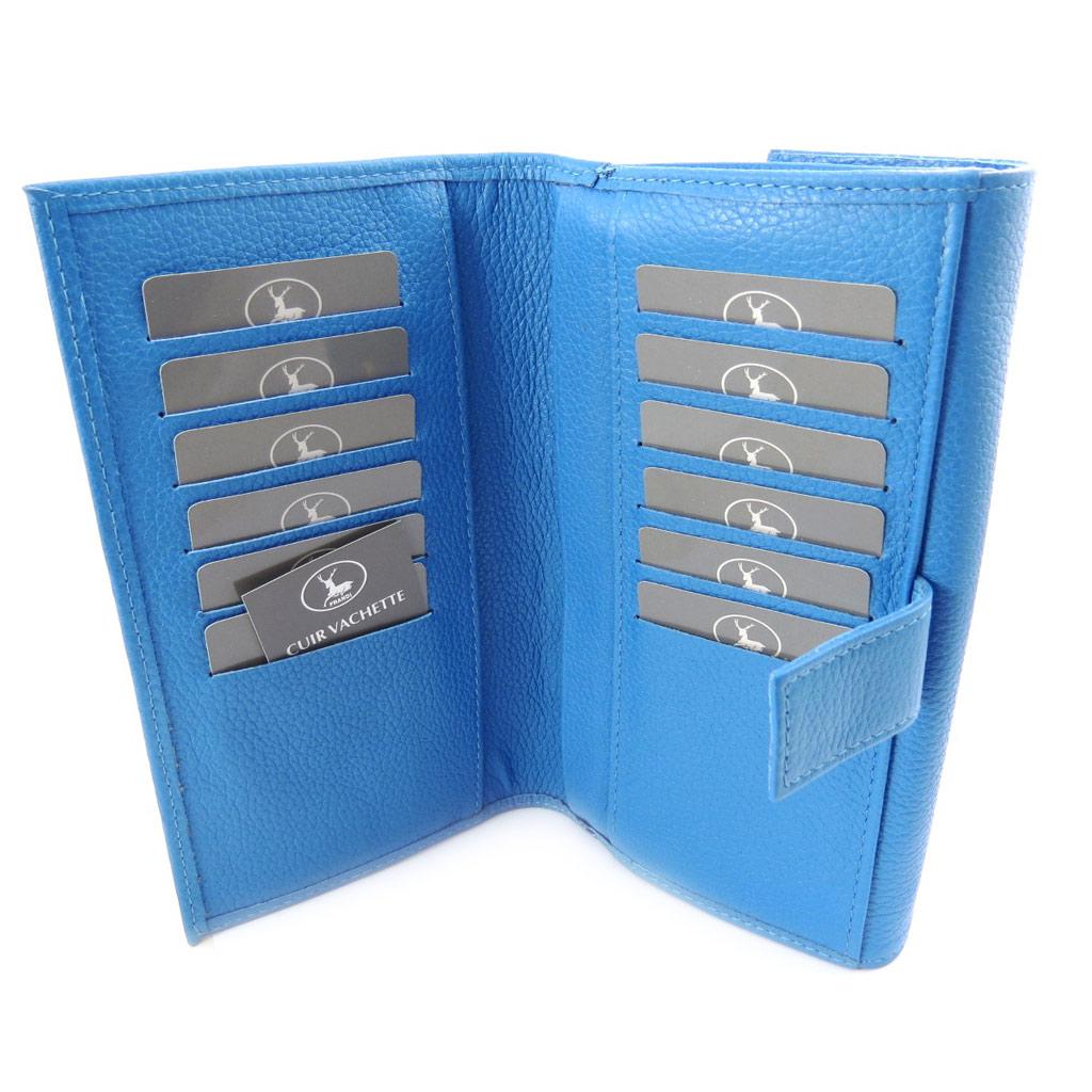 Compagnon Cuir \'Frandi\' bleu grainé - [K0408]