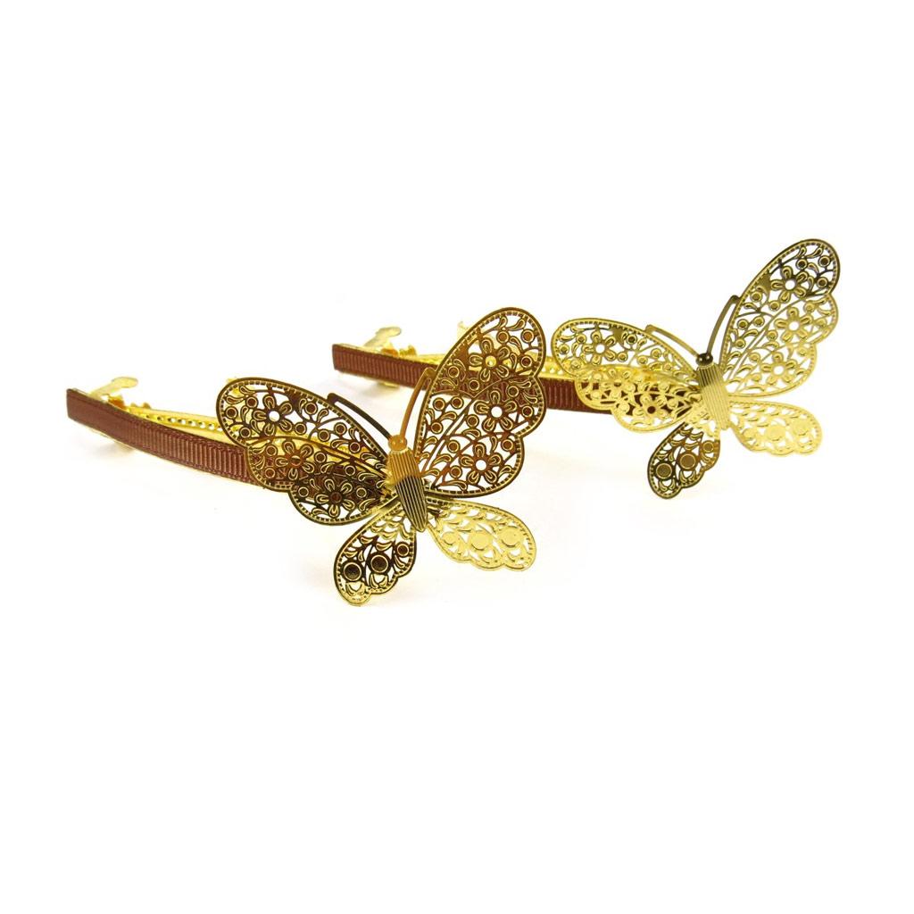 Barrettes créateur \'Papillons\' doré marron - [K0712]