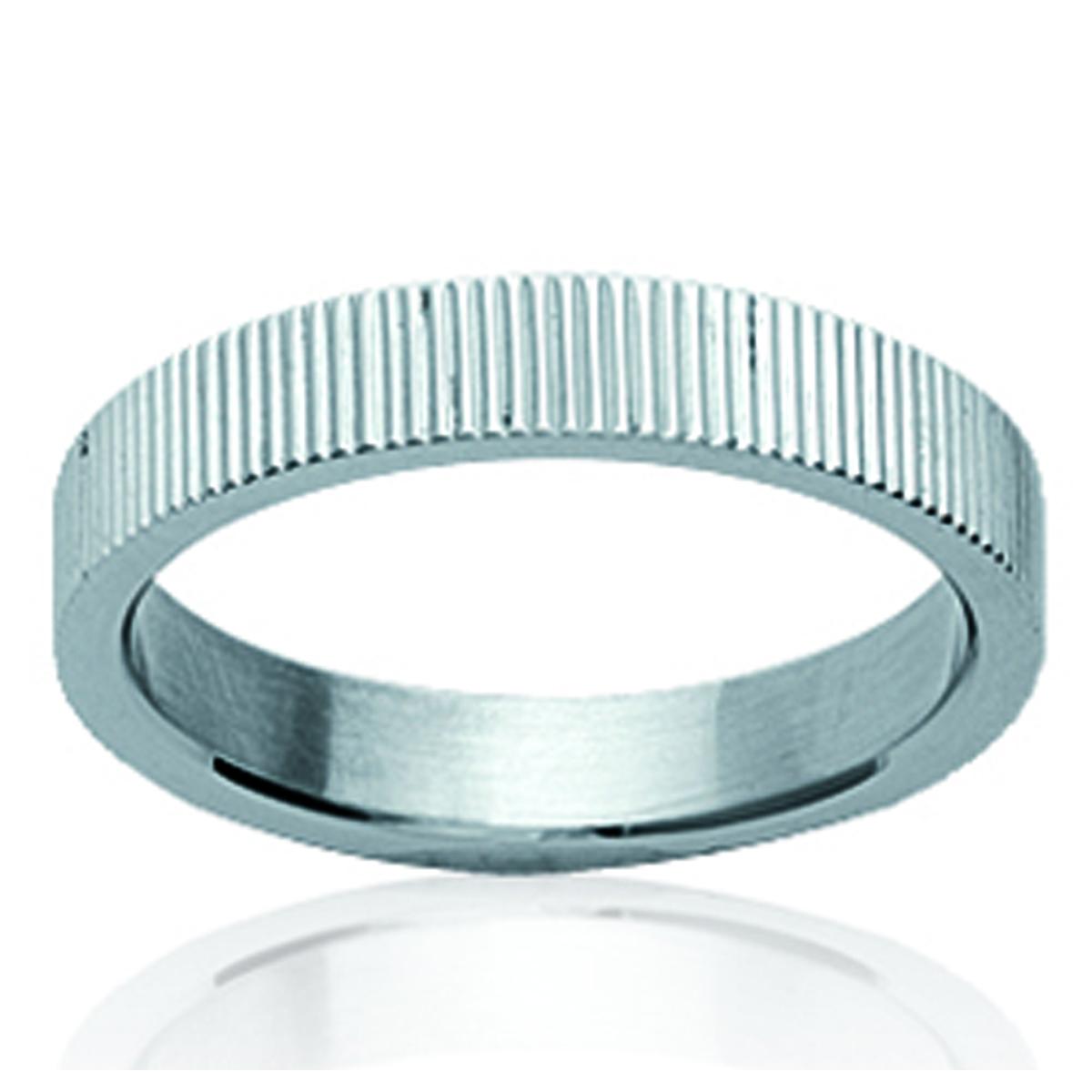 Bague acier \'Chorégraphie\' argenté - 4 mm - [K0720]