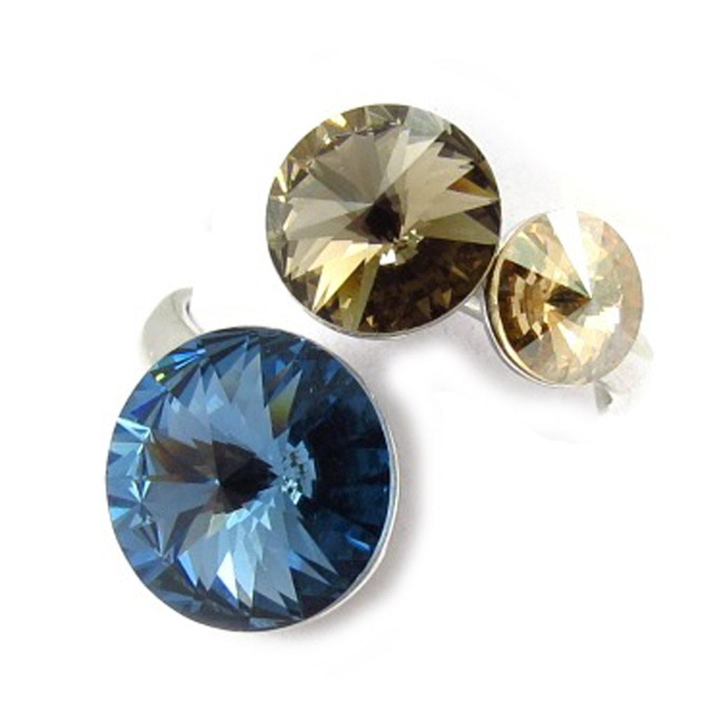 Bague Argent \'Cristal\' bleu marron (cristal de Swarovski) - [K4098]
