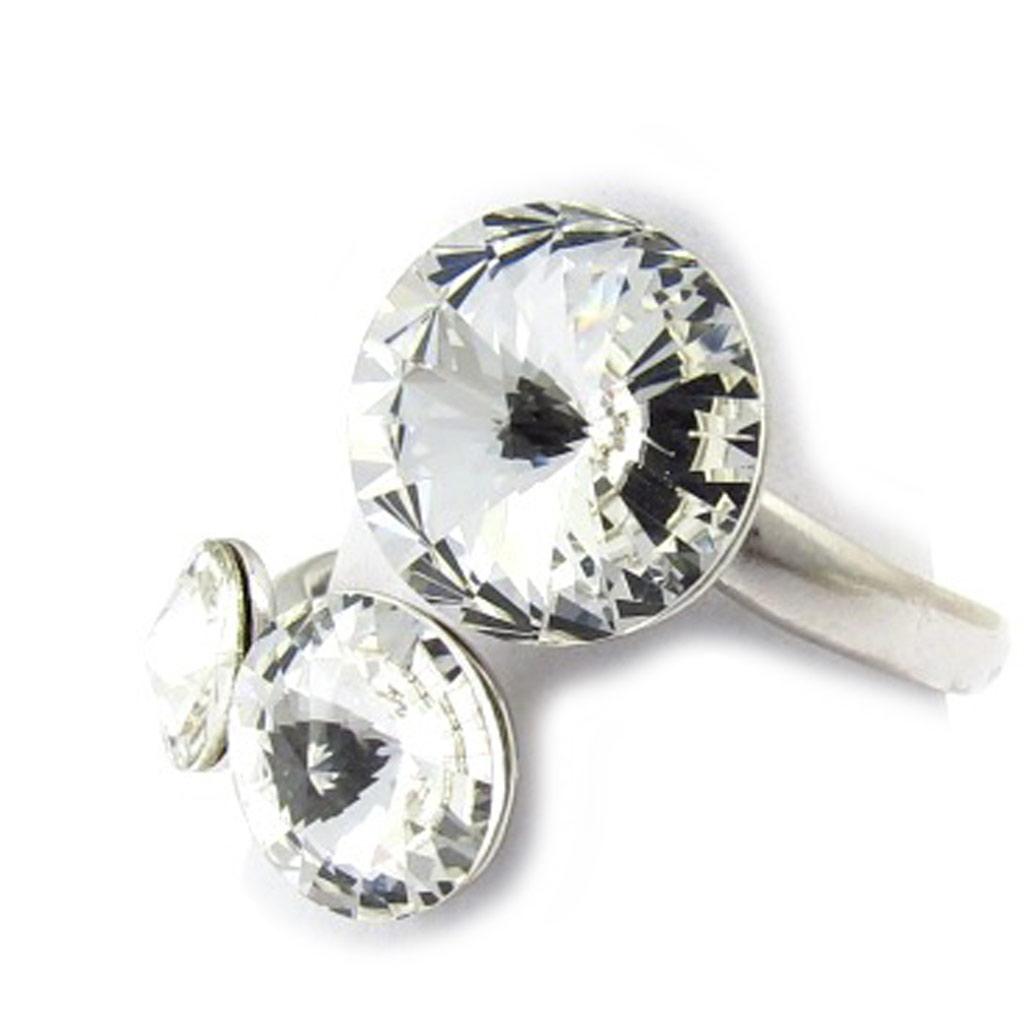 Bague Argent \'Cristal\' blanc (Crystal) - [K4099]