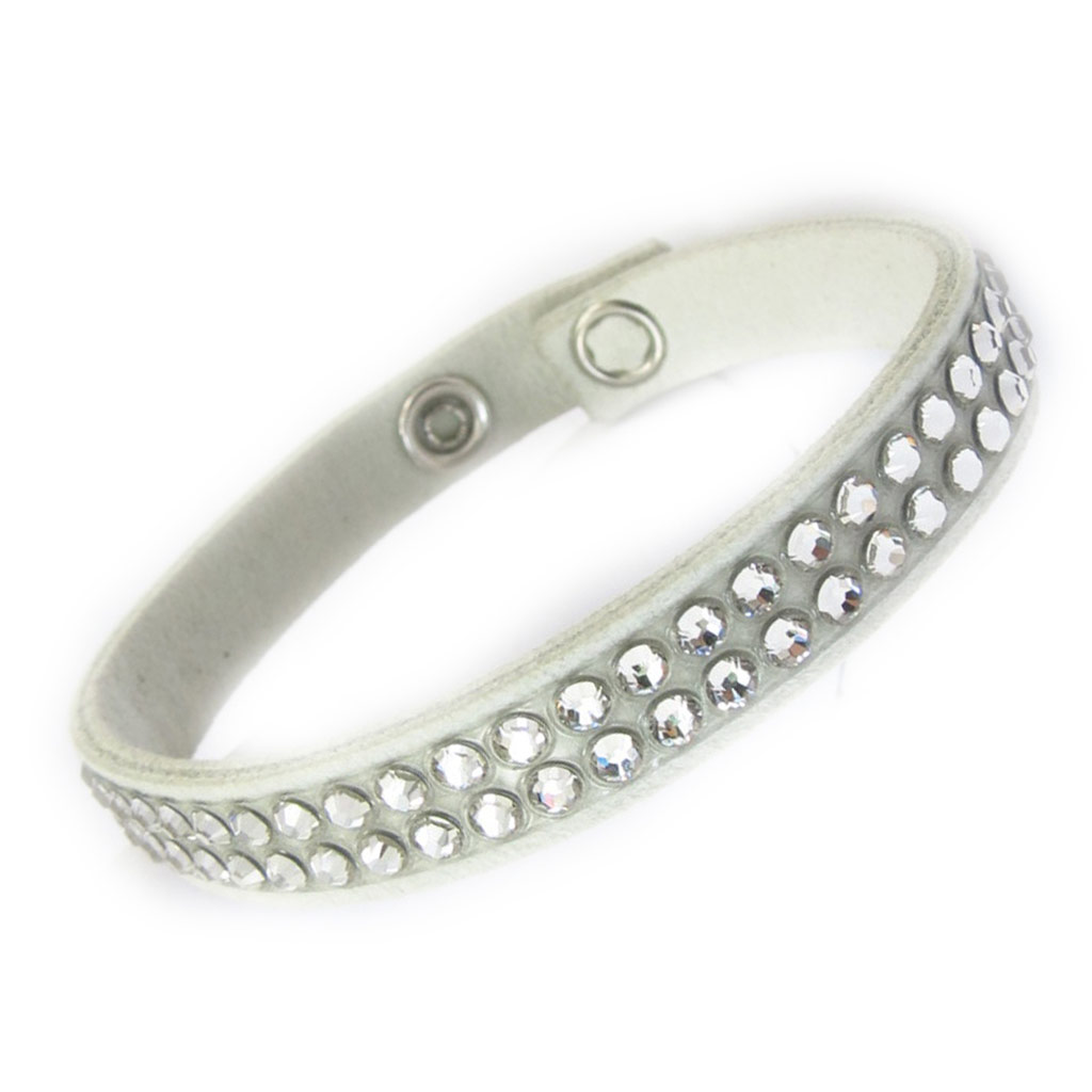 Bracelet créateur \'Déesse\' blanc (cristal de Swarovski) 9 mm - [K4115]