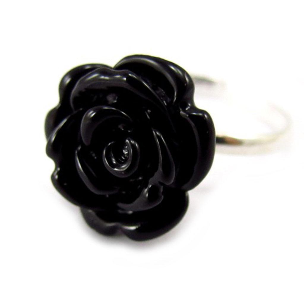 Bague Argent \'Rosa Romantica\' noir - [K4168]